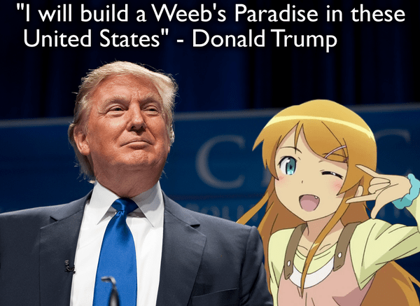 Trump with Anime Girl at Rally