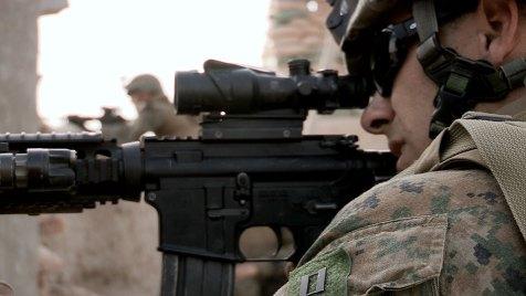 Major Vail Raymor ist Mitglied des US-Marine-Teams, das die afghanische Polizei berät. Bild: BBC World News