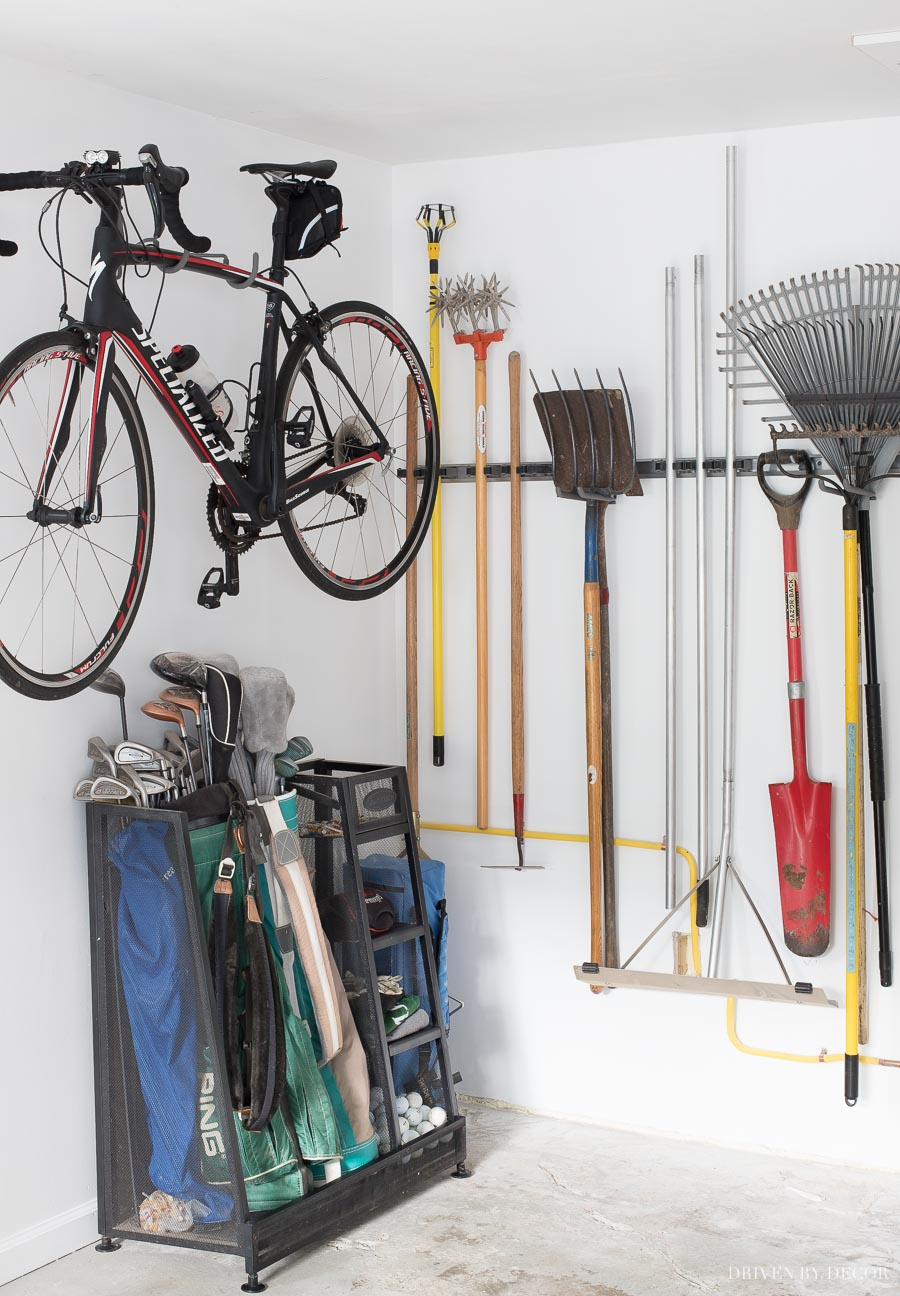 Tidy Garage Bike Rack Installation Garage Organization Tackling Our Crazy Mess With Elfa Driven By
