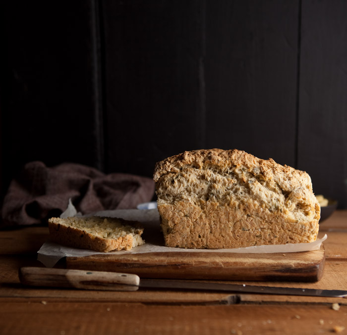 beer bread with basil