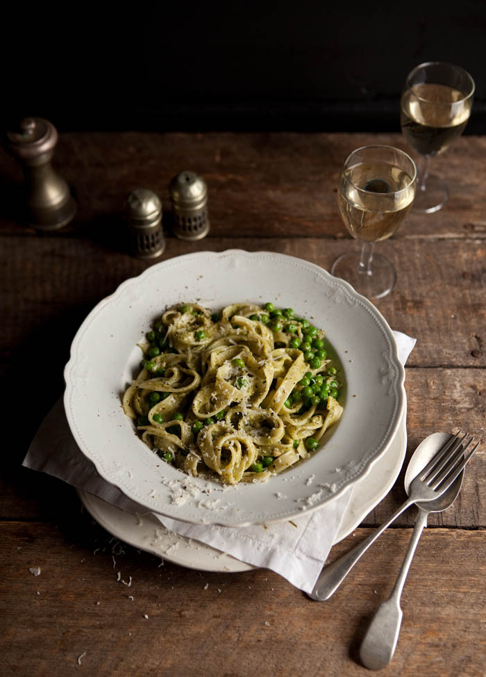 pasta with creamy basil pesto and peas