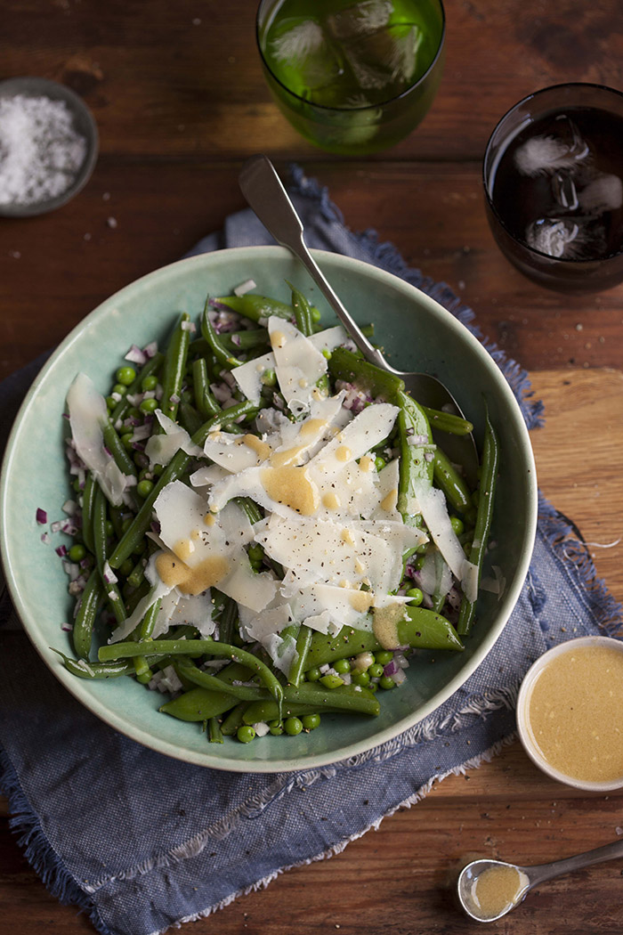 Green bean and pea salad with shaved Parmesan
