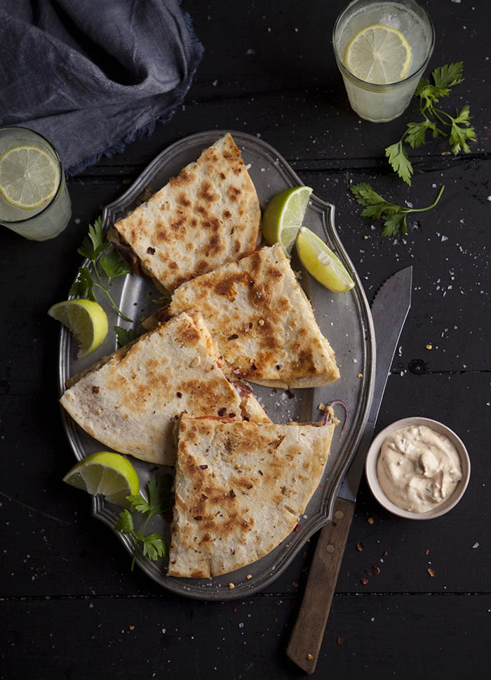 spicy turkey quesadilla
