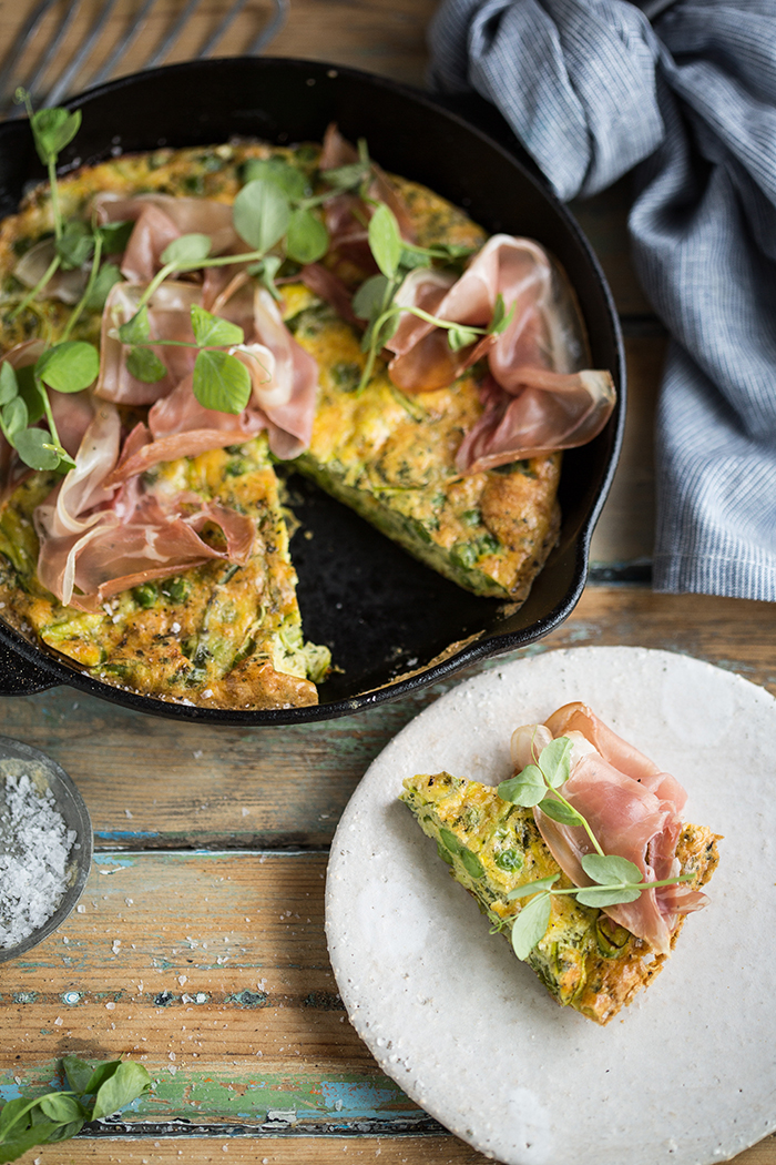 shaved asparagus and pea frittata with mint and parma ham