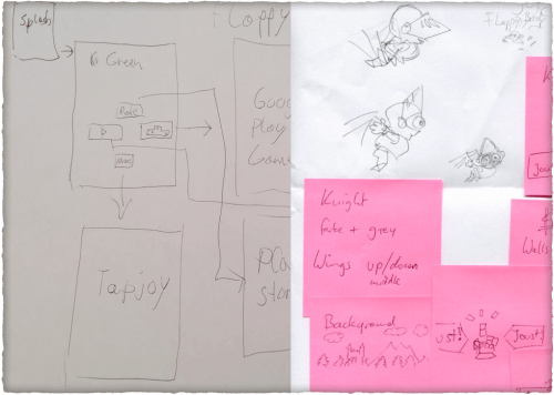 Left: Wireframes. Right: Design drafts