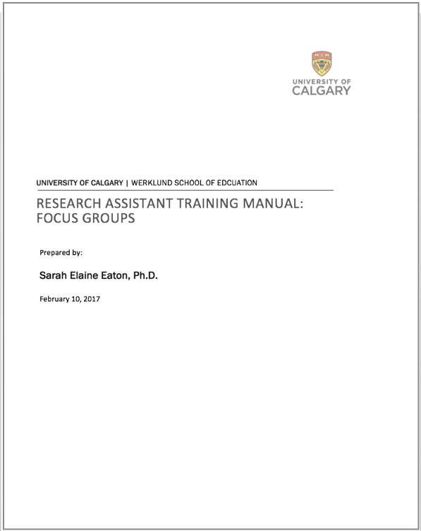 Focus Groups Training Manual for Research Assistants Learning