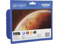 Brother LC1100HYVALBPDR Valuepack (cyan, magenta, gelb, schwarz) für MFC6490CW/DCP6690CW/6890CDW/5895CW/5890CN