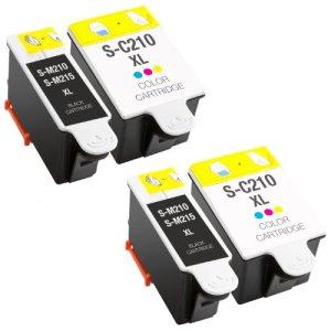 Sparset 4x Tintenpatrone XL für Samsung 2x INK-M210/215 Black & 2x INK-C210 Color PlatinumSerie Drucker : Samsung CJX-1000 CJX-1050W CJX-2000FW , 20 ml Inhalt
