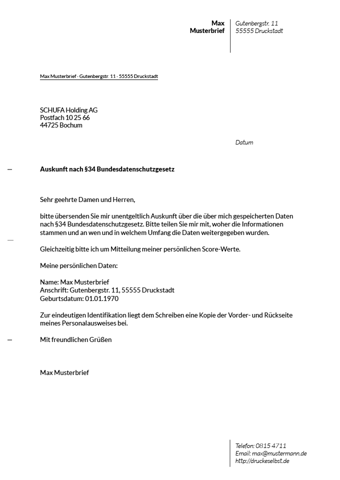 Drucke Selbst! Musterbrief Für Eine Kostenlose Schufa-Auskunft