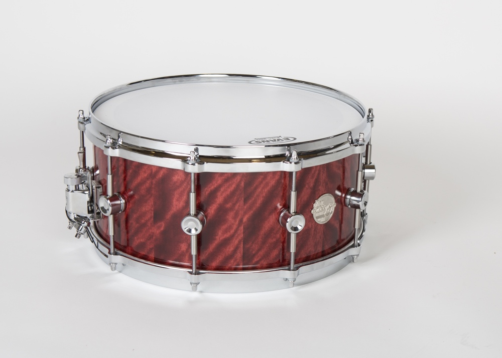 "A 14"" x 6.5"" Doc Sweeney birch snare drum in a Blaze Flame finish. Steve Stecher says, ""We are making a series of these snares in a variety of unique dye/oil finishes."""