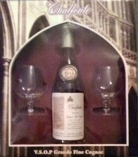 Chalfonte Cognac gift set; two 2oz snifters and a 375l bottle of Chalfonte VSOP