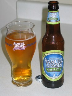 Samuel Adams Noble Pils bottle and filled special edition glass