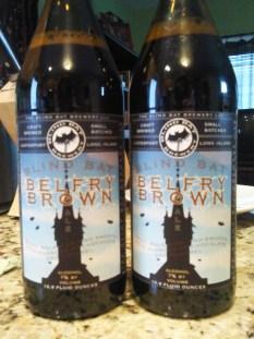 Two bottles of Blind Bat Brewing Belfry Brown