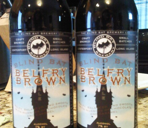 Two bottles of Blind Bat Brewing Belfry Brown