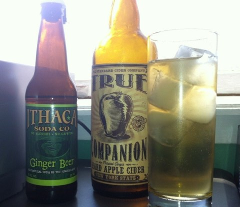A bottle of Ithaca Ginger Beer, True Companion hard cider, and a glass of Ginger bourbon cider.
