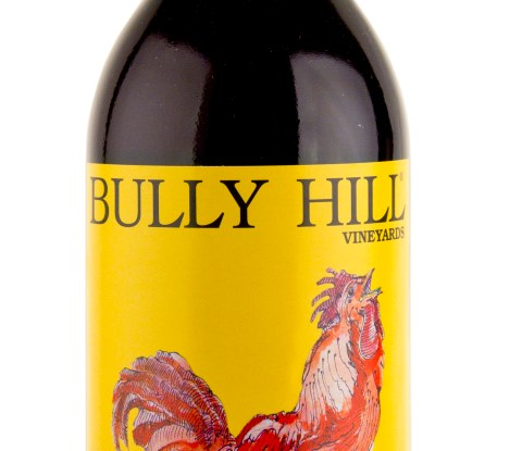 A 750mL bottle of Bully Hill Banty Red