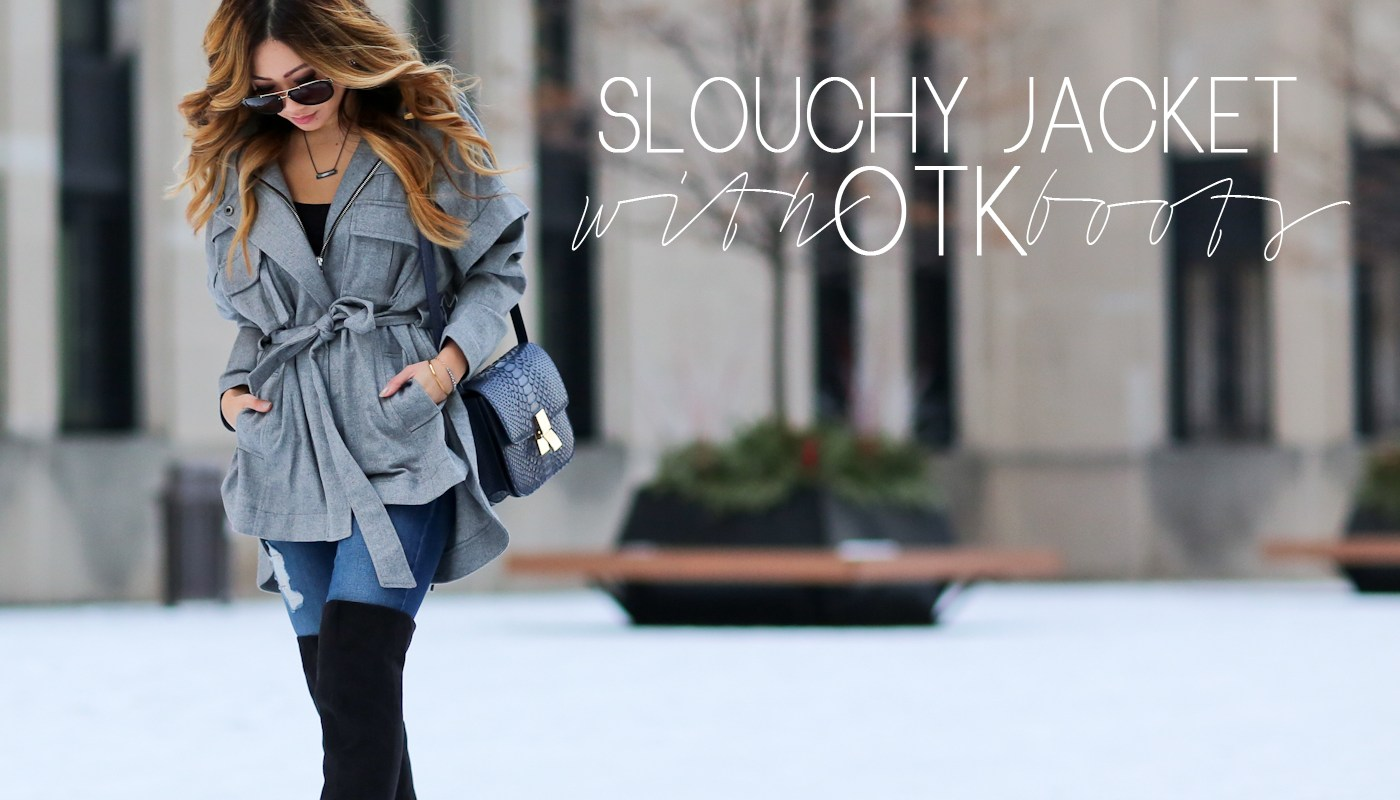 SLOUCHY JACKET WITH OTK BOOTS