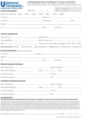 New Patient Form - Dr Z Universal Chiropractic