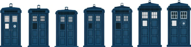 This is the Tardis throughout the years... 1963, 1966, 1976, 1980, 1996, 2005, 2010. From the Dr. Who website.