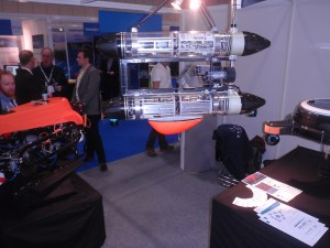 The MEDUSA Autonomous Surface Vehicle on display, suspended from the ceiling