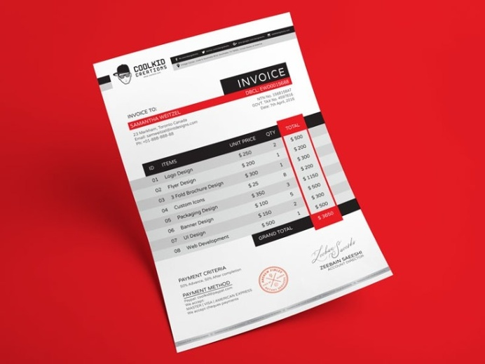 Best Freebies Free Creative Invoice Template images on Designspiration