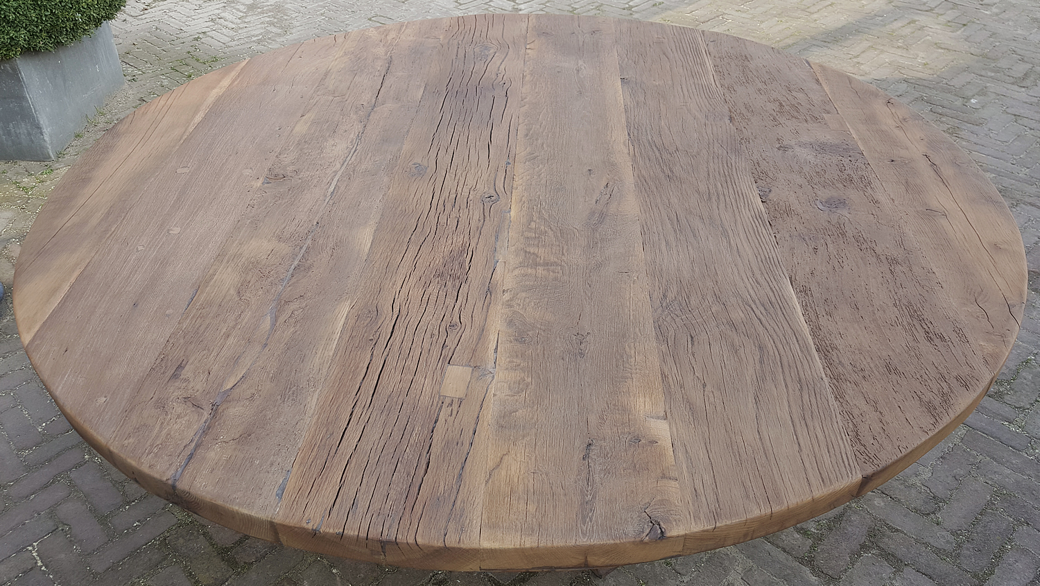 Wohnzimmertische Oval Round Refectory Table Made Of 4,5 - 5 Cm Sunburned Reclaimed Oak - Dt69