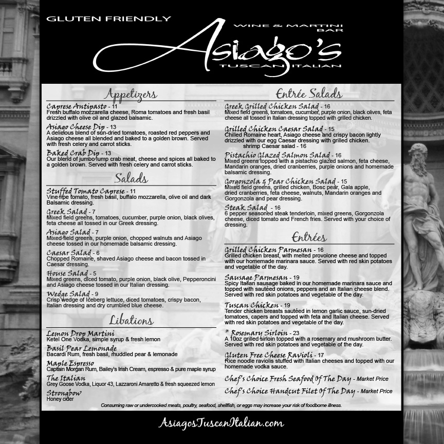 Italian Restaurant Menu Johnstown Martini Bar Pittsburgh Best - italian menu