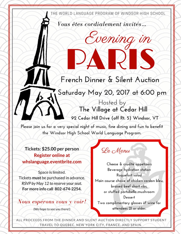 Evening in Paris\ - Dinner Flyer