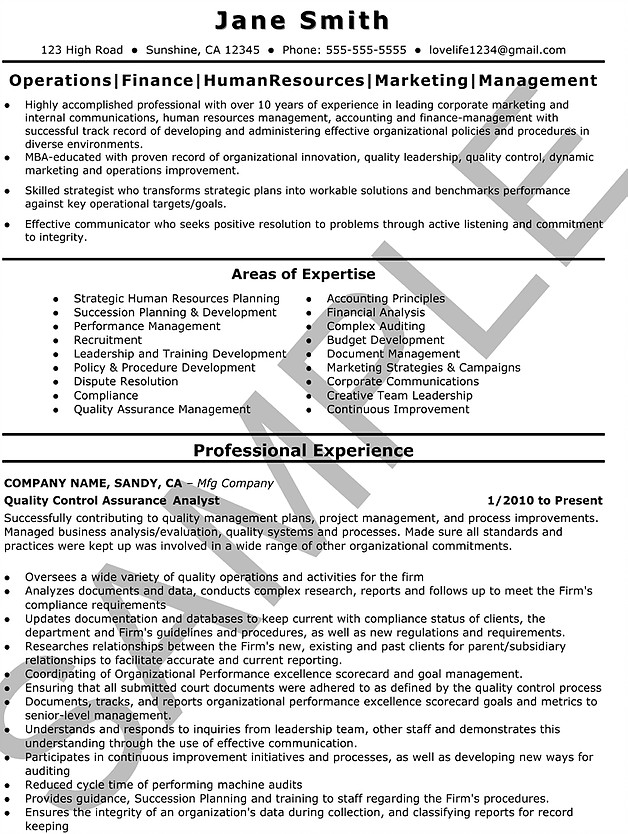 Sample Resumes Outstanding Care Agency - quality control auditor sample resume