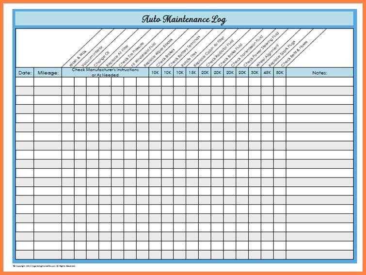 auto maintenance spreadsheet