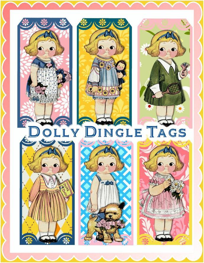 Dolly Dingle Vintage Paper Doll Tags by Seneca Pond Crafts on Zibbet