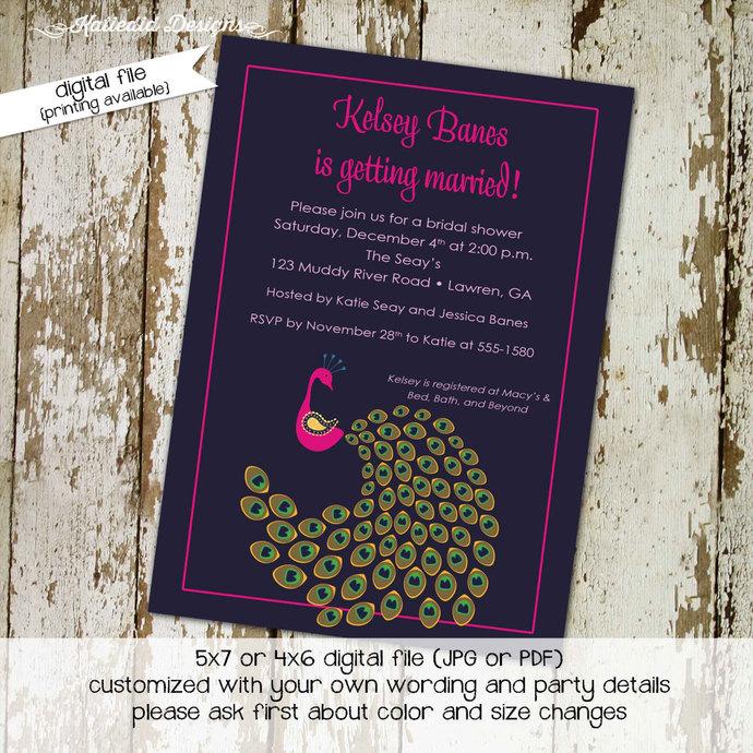 peacock bridal shower invitations purple Katiedid Designs