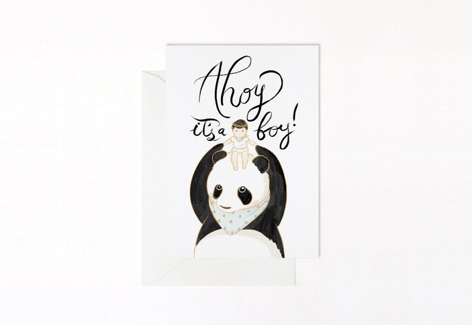 Ahoy It\u0027s a Boy Panda Greeting Blank Baby Belle Pivoine