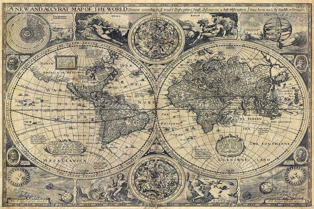 Large Historic 1626 Old World Map Antique by VintageryImagery on