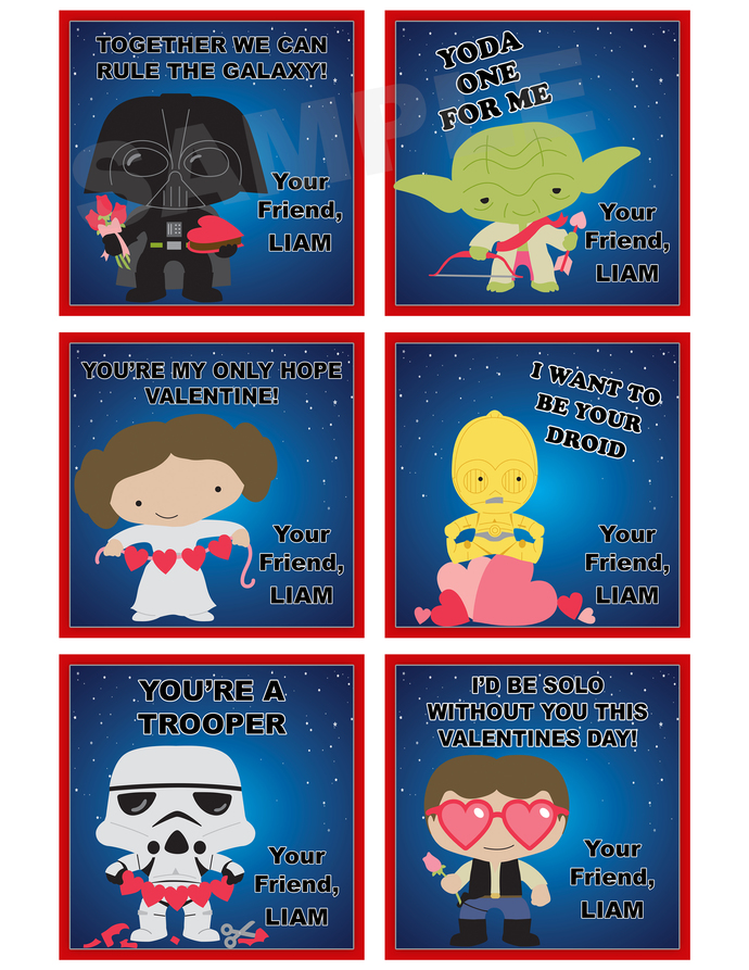 Star Wars Valentine\u0027s Day- Cards /Gift thelovelymemories