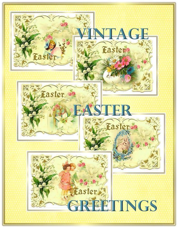 Vintage Easter Greetings Set for Tags, by Seneca Pond Crafts on Zibbet