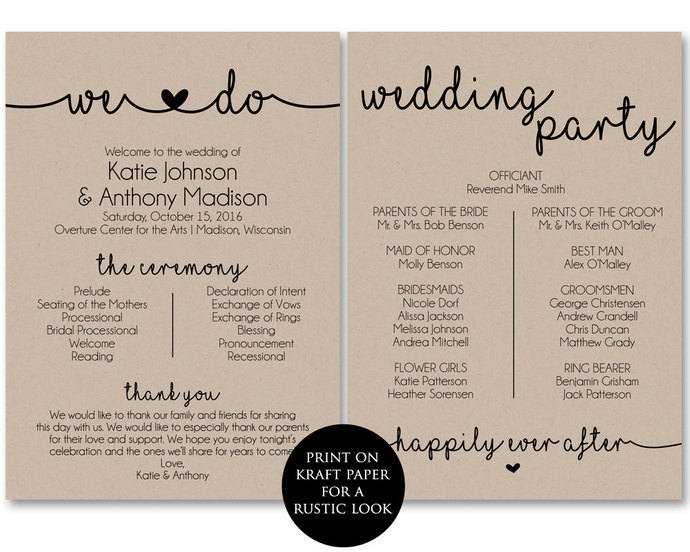 Ceremony Program Template, Printable Wedding by ModernSoiree on Zibbet