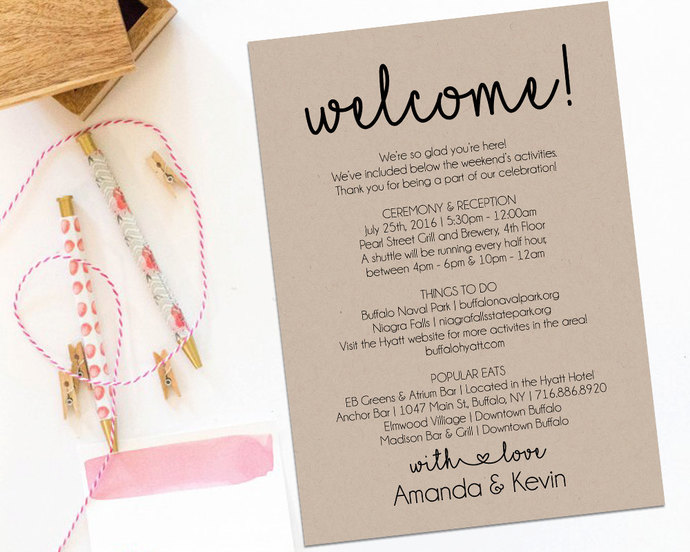 Welcome Letter, Wedding Itinerary, Printable by ModernSoiree on Zibbet
