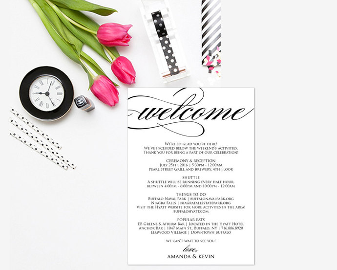 Wedding Itinerary, Printable Itinerary, by ModernSoiree on Zibbet