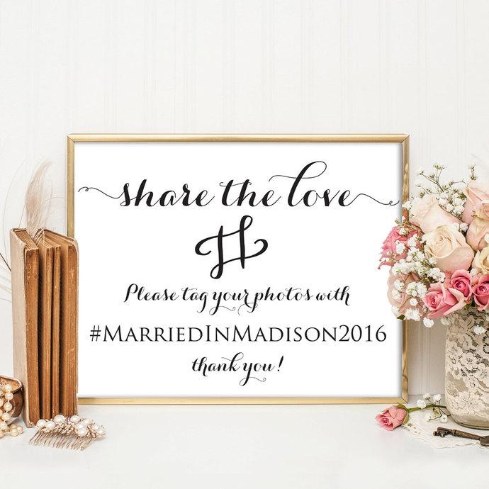 Wedding Hashtag Sign, Wedding Hashtag, by ModernSoiree on Zibbet - wedding template