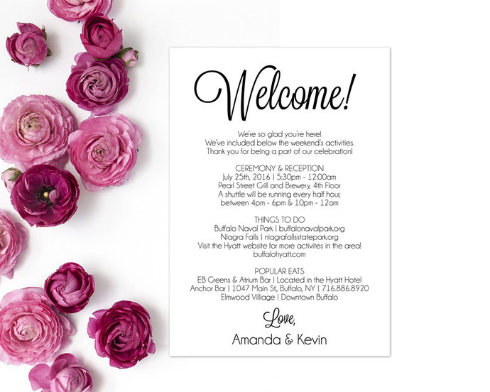 Itinerary, Wedding Welcome Letter, Wedding by ModernSoiree on Zibbet