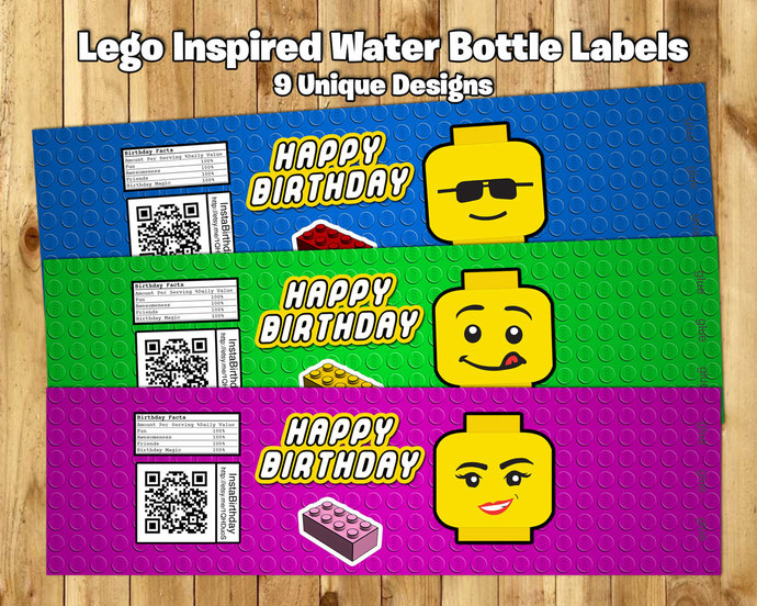 Lego Inspired Water Bottle Labels Lego Water instbirthday