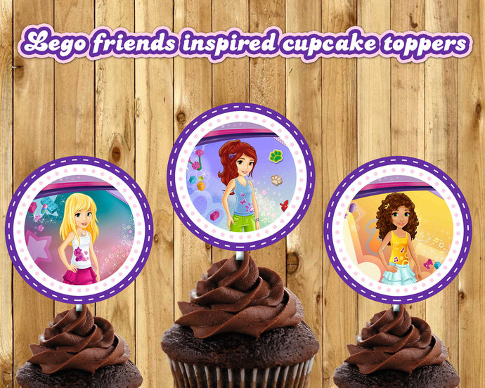 Lego Friends Inspired Cupcake Toppers Lego by instbirthday on Zibbet