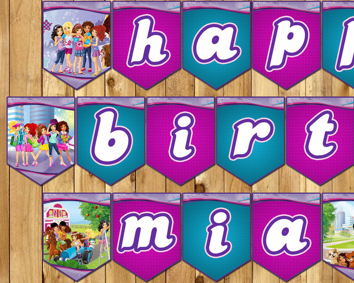 Lego Friends Inspired Birthday Banner - Lego by instbirthday on Zibbet