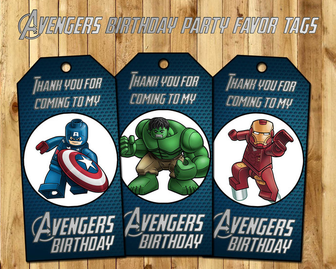 Avengers Favor Tags - Lego Avengers Birthday by instbirthday on Zibbet