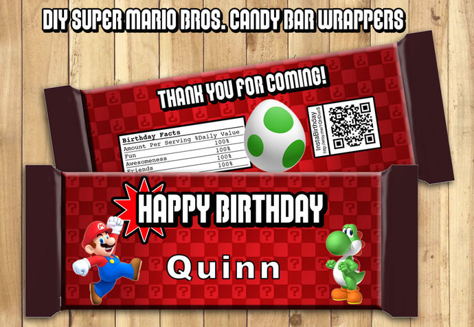 Super Mario Candy Bar Wrappers - Download by instbirthday on Zibbet - hershey wrappers