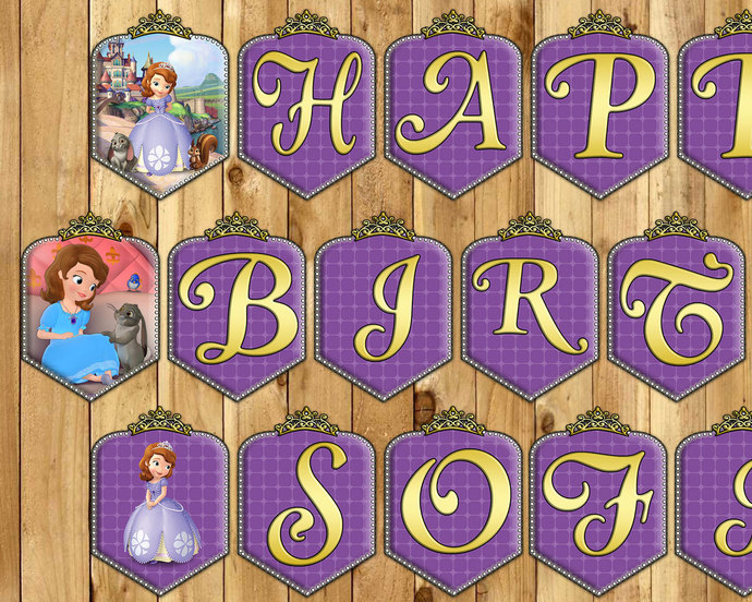 Sofia the First Birthday Banner Princess by instbirthday on Zibbet - first birthday banner