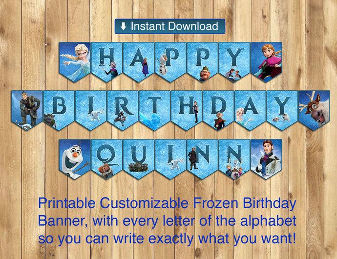 Printable Frozen Happy Birthday Banner - All by instbirthday on Zibbet