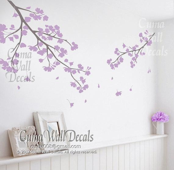 Wallpaper Border For Girl Nursery Lilac Cherry Blossom Wall Decals Vinyl By Cuma Wall Decals