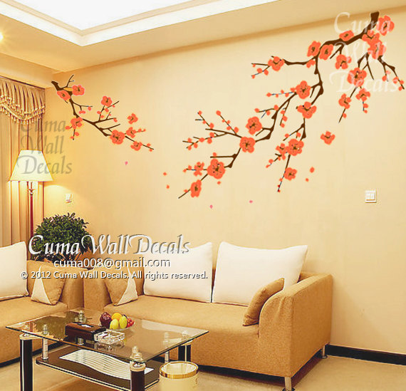 3d Cloud Wallpaper Cherry Blossom Wall Decals Orange Flower By Cuma Wall